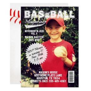 MVP All-Star Baseball Magazine Cover Birthday Invitation