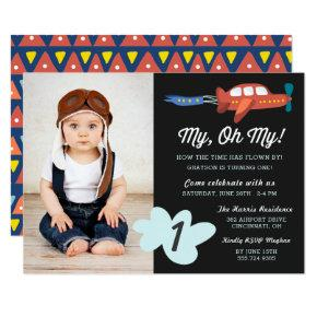 My Oh My | Airplane Photo Birthday Party Invite