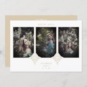 My XV Years Spanish 3 Photos Golden Lace Effect Invitation