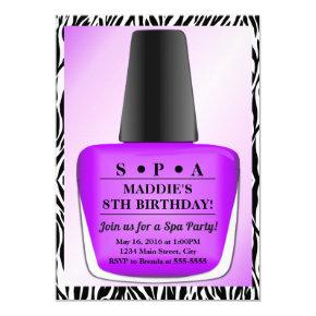 Nail Polish Birthday Invitation Purple Nail Polish