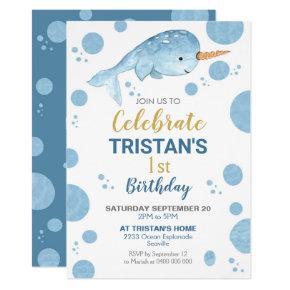 Narwhal Birthday Invitation Boy 1st Birthday