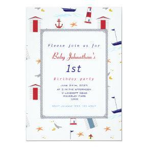 Nautical 1st Birthday Sailboat Birthday Party Invitation