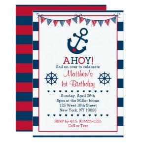 Nautical Anchor 1st Birthday Invitation