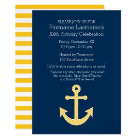 Nautical Anchor Navy Yellow Birthday Party Invitation