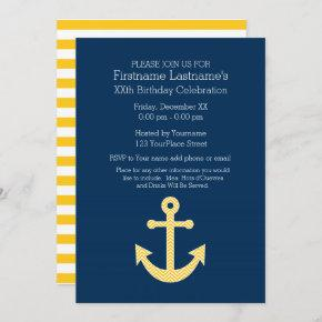 Nautical Anchor Navy Yellow Birthday Party Invitation