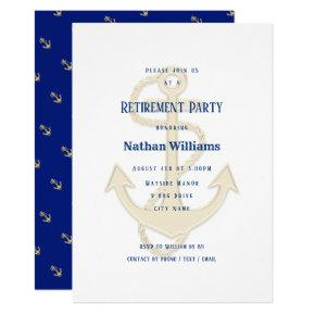 Nautical Anchors Navy Blue Custom Invitation