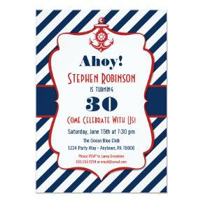 Nautical Birthday Invitations - Adult Mens Anchor