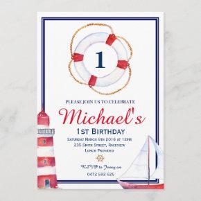 Nautical Birthday Invitation Invite Navy Blue Sail