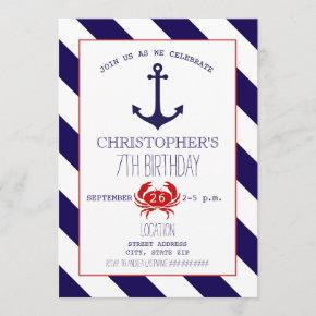 Nautical Birthday Party - Anchor + Crab Invitation