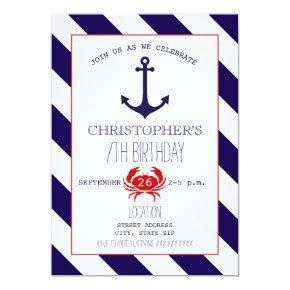Nautical Birthday Party - Anchor + Crab Invitation