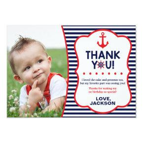 Nautical Birthday Thank You  | Navy and Red