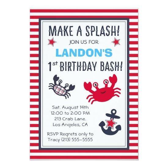 Nautical Crab Anchor Boys Birthday Invitation Candied Clouds