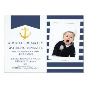 Nautical faux gold foil anchor Birthday Invitation