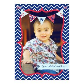 Nautical First Birthday Boy Photo Party Invitation