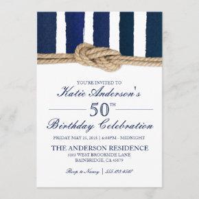 Nautical Knot Navy Stripes Birthday Invitation
