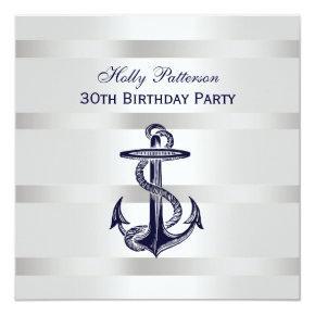 Nautical Navy Blue Anchor Silver Wt BG SQ Birthday Card