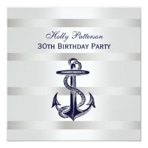 Nautical Navy Blue Anchor Silver Wt BG SQ Birthday Invitation