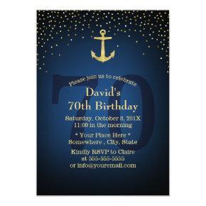 Nautical Navy Blue Gold Anchor 70th Birthday Party Invitation