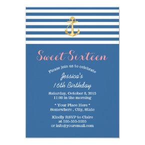 Nautical Navy Blue Gold Anchor Sweet 16 Invitation