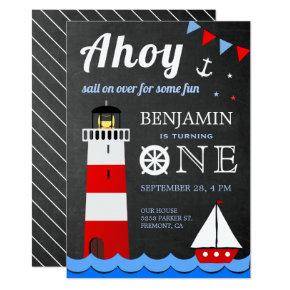 Nautical Sailboat Lighthouse First Birthday Party Invitation