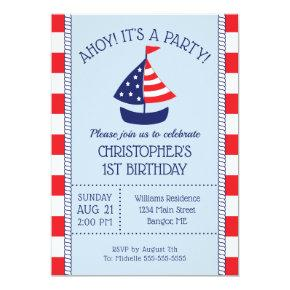 Nautical Sailboat Patriotic 1st Birthday Invitation