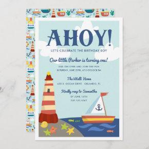 Nautical Scene Kids Birthday Party Invitation
