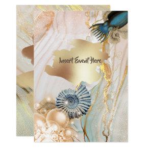 Nautical shell octopus marble gold watercolor invitation