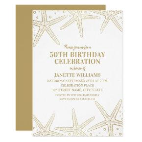 Nautical Starfish Beach Adult 50th Birthday Party Invitation