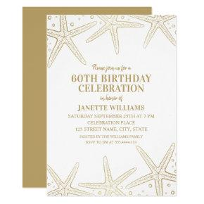 Nautical Starfish Beach Adult 60th Birthday Party Invitation