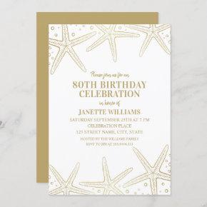 Nautical Starfish Beach Adult 80th Birthday Party Invitation
