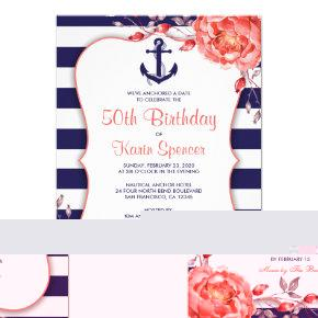 Nautical Stripe 50th Birthday Party Invitation
