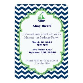 Nautical themed 1st Birthday invitation