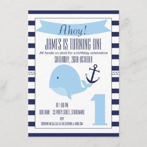 Nautical Whale 1st Birthday Invitation For Boy