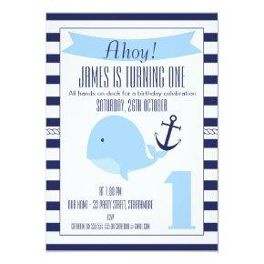 Nautical Whale 1st Birthday Invitation For Boy