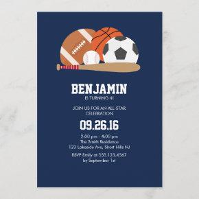 Navy All Star Sports Themed Birthday Party Invitation