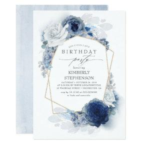 Navy and Dusty Blue Floral Modern Birthday Party Invitation