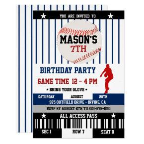 Navy Baseball Ticket Birthday Invitations