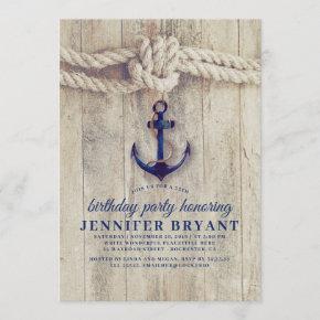 Navy Blue Anchor Rustic Nautical Birthday Invitation