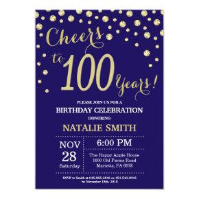 Navy Blue and Gold 100th Birthday Diamond Invitation