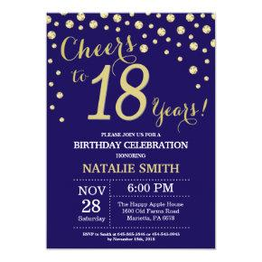 Navy Blue and Gold 18th Birthday Diamond Invitation