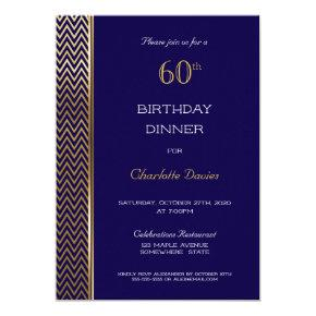 Navy Blue and Gold 60th Birthday Dinner Invitation