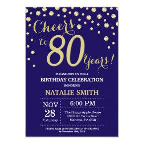 Navy Blue and Gold 80th Birthday Diamond Invitation