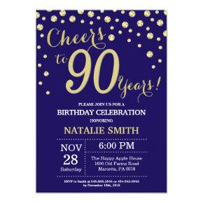 Navy Blue and Gold 90th Birthday Diamond Invitation