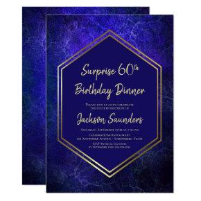 Navy Blue and Gold Surprise 60th Birthday Dinner Invitation