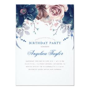 Navy Blue and Mauve Floral Birthday Party Invitation
