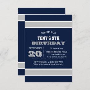 Navy Blue and Silver Team Birthday Invitation