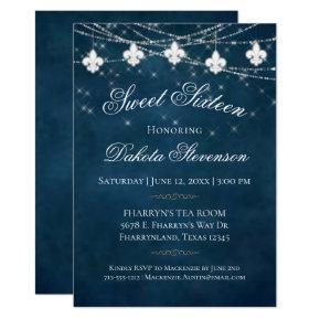 Navy Blue Fleur de Lis Fairy Light | Sweet 16 Invitation