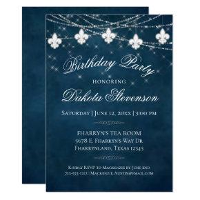 Navy Blue Fleur de Lis Light | Birthday Party Invitation