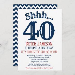 Navy Blue Funny Men's Surprise Party Invitation