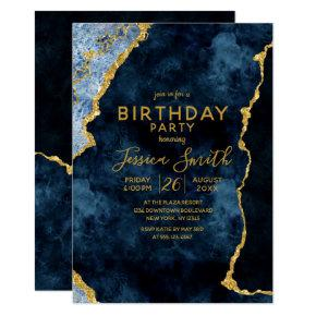 Navy Blue & Gold Foil Birthday Party Invitation